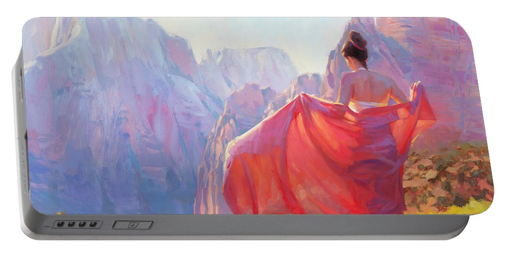 Zion Portable Battery Charger featuring the painting Light of Zion by Steve Henderson