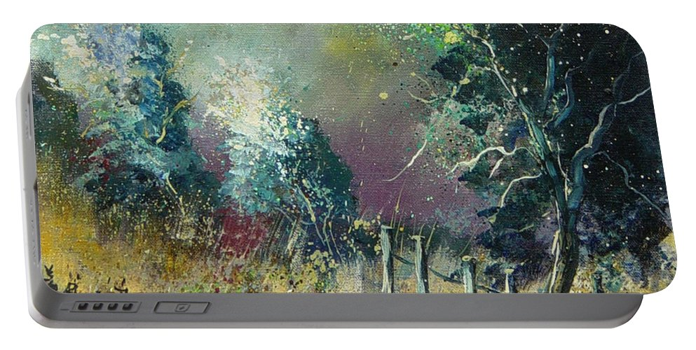 Landscape Portable Battery Charger featuring the painting Light On Trees by Pol Ledent