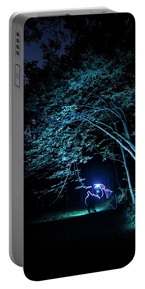 Light Painting Portable Battery Charger featuring the photograph Light Painted Arched Tree by Sven Brogren