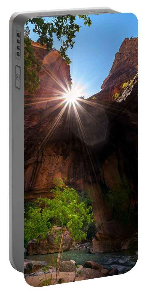 Trailsxposed Portable Battery Charger featuring the photograph Light Shine Down by Gina Herbert