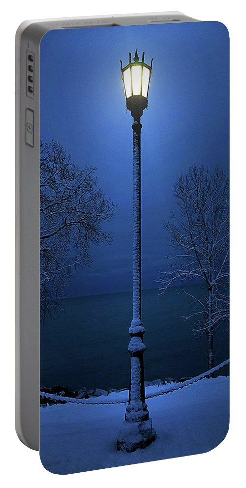 Lamp Portable Battery Charger featuring the photograph Light Winter Blue by Phil Koch