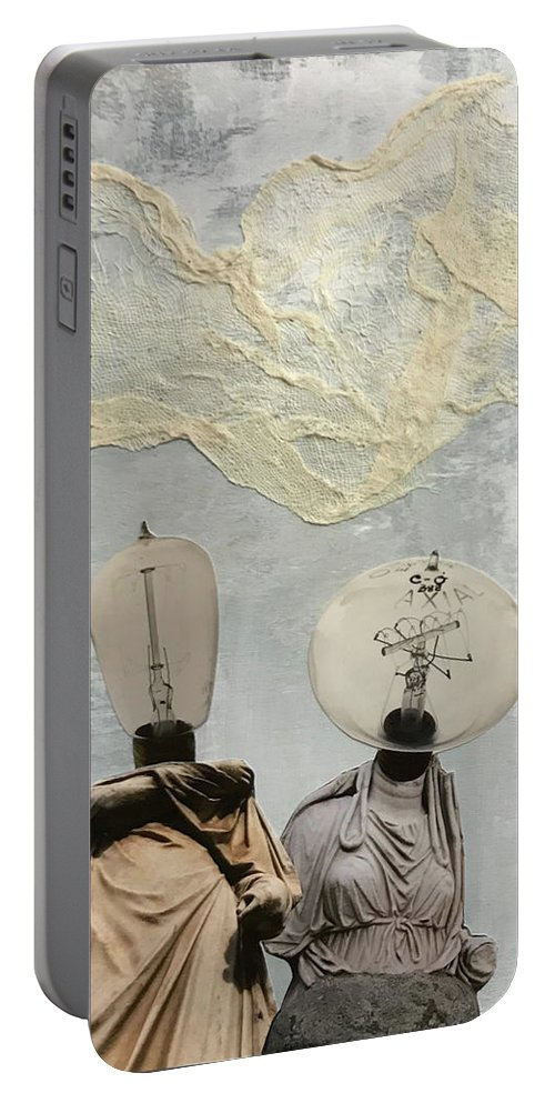 Collage Portable Battery Charger featuring the mixed media Lightbulb Ladies by Sarah Stec
