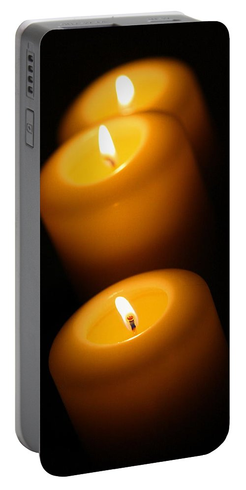 Candle Portable Battery Charger featuring the photograph Lighted Path by Angela Rath