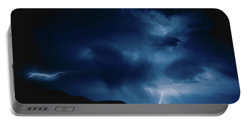 Lightening Portable Battery Charger featuring the photograph Lightening Cache Valley Utah by Shandi Hansen
