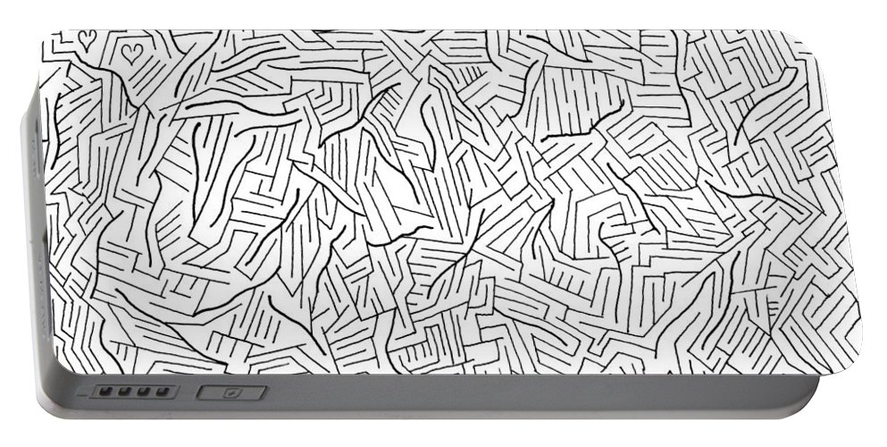 Mazes Portable Battery Charger featuring the drawing Lightening by Steven Natanson