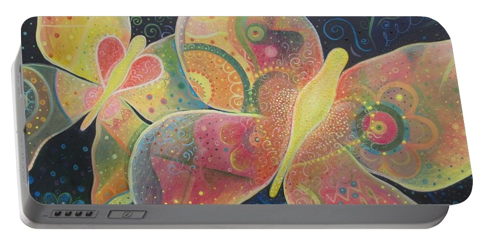 Butterfly Portable Battery Charger featuring the painting Lighthearted by Helena Tiainen