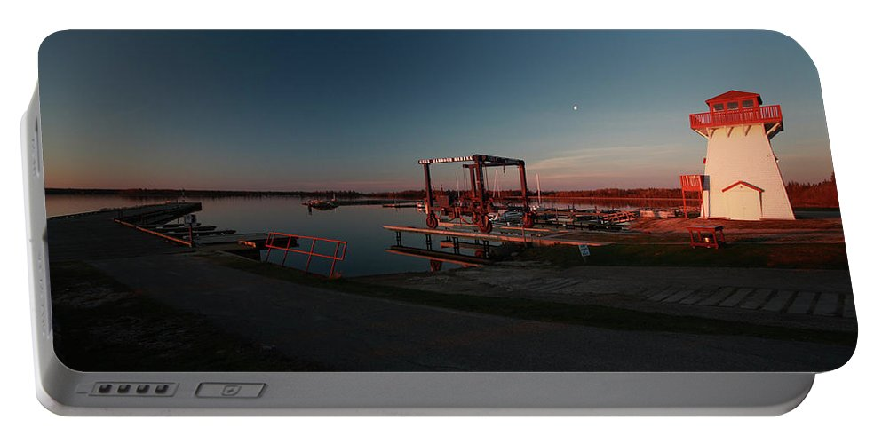 Lighthouse Portable Battery Charger featuring the digital art Lighthouse And Marina At Hecla In Manitoba by Mark Duffy