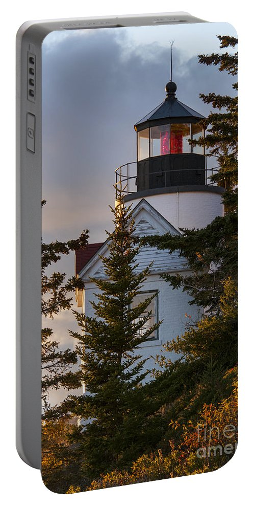 Bass Harbor Head Lighthouse Lighthouses Building Buildings Structure Structures Architecture Tree Trees Autumn Color Colors Fall Foliage Sunset Sunsets Landmark Landmarks Portable Battery Charger featuring the photograph Lighthouse At Bass Harbor by Bob Phillips