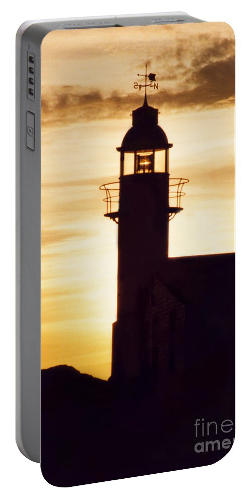 Serene Portable Battery Charger featuring the photograph Lighthouse At Sunset by Mary Mikawoz