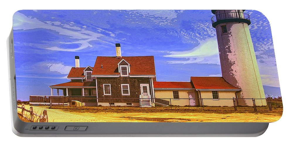 Lighthouse Portable Battery Charger featuring the mixed media Lighthouse Cape Cod by Dominic Piperata