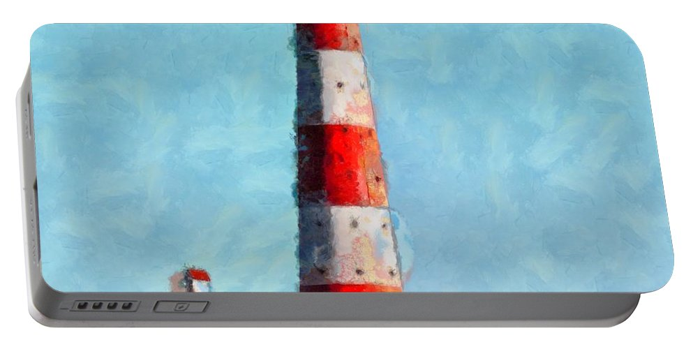 North Sea Portable Battery Charger featuring the painting Lighthouse - Id 16217-152045-8706 by S Lurk