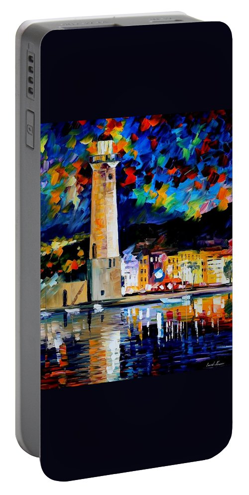 Afremov Portable Battery Charger featuring the painting Lighthouse In Crete by Leonid Afremov