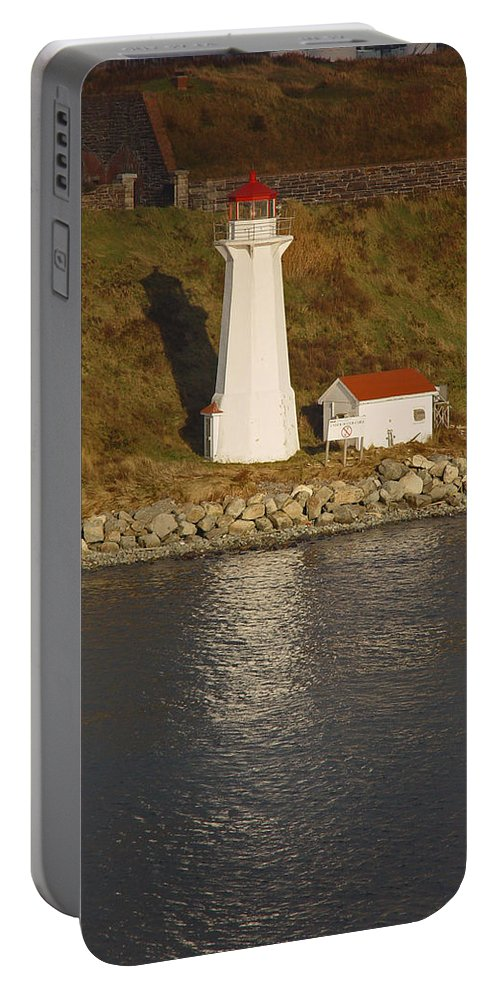 Lighthouse Portable Battery Charger featuring the photograph Lighthouse In Maine by Heather Coen