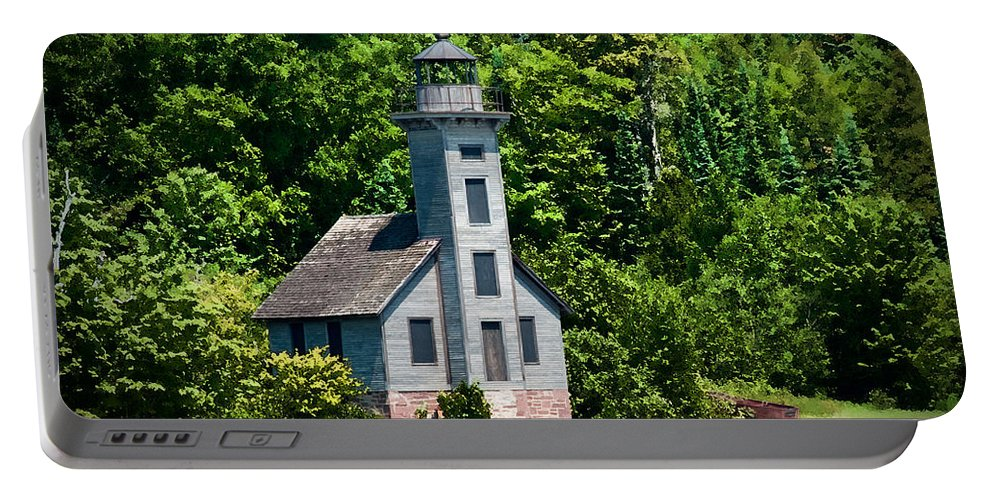 Lighthouse Portable Battery Charger featuring the photograph Lighthouse Munising Bay by David Arment