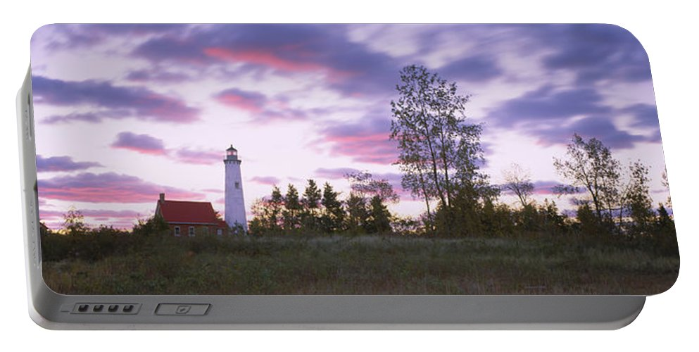 Photography Portable Battery Charger featuring the photograph Lighthouse On A Landscape, Tawas Point by Panoramic Images