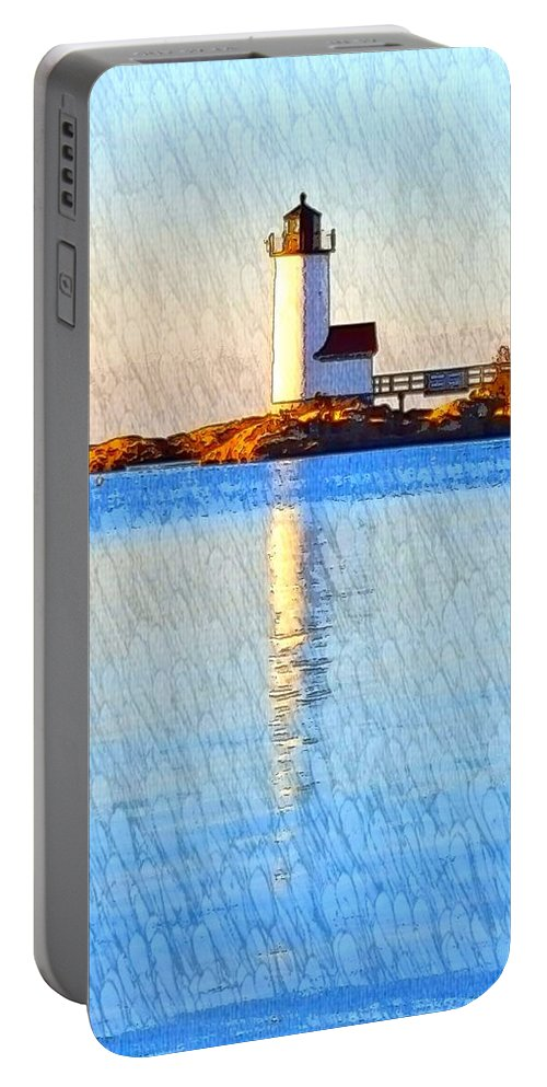 White Lighthouse Portable Battery Charger featuring the photograph Lighthouse Reflection by Harriet Harding