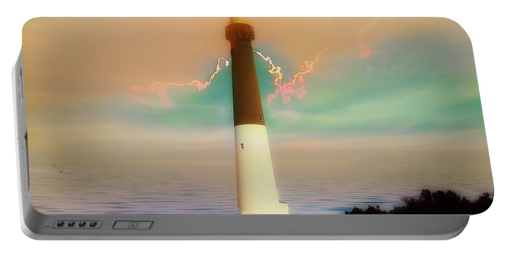 Lighthouse Portable Battery Charger featuring the photograph Lighthouse Sunrise by Bill Cannon