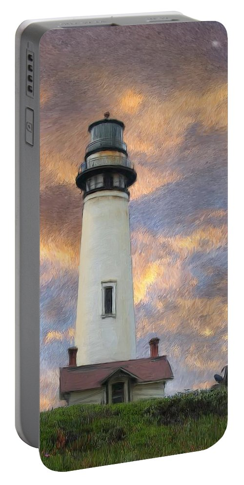 Lighthouse Art Portable Battery Charger featuring the digital art Lighthouse Visitors by Snake Jagger