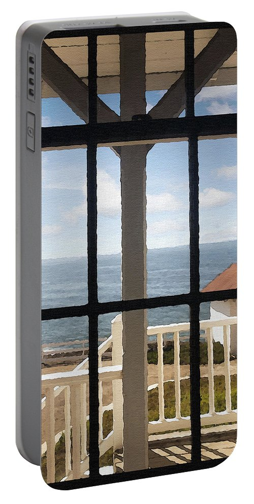 Architecture Portable Battery Charger featuring the photograph Lighthouse Window by Sharon Foster