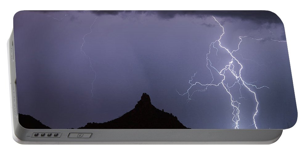 Arizona Portable Battery Charger featuring the photograph Lightnin At Pinnacle Peak Scottsdale Arizona by James BO Insogna