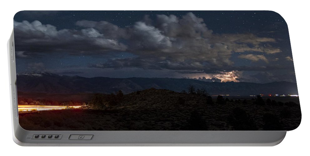 Night Portable Battery Charger featuring the photograph Lightning And Light Trails by Cat Connor
