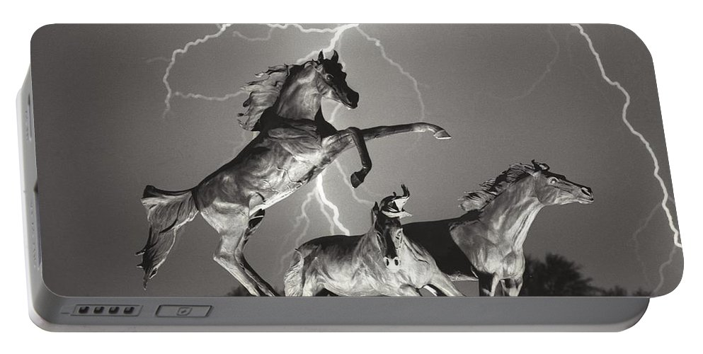 Horses Portable Battery Charger featuring the photograph Lightning At Horse World by James BO Insogna