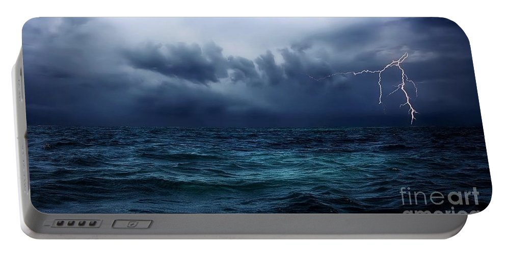 Lightning Portable Battery Charger featuring the photograph Lightning Over Water by Anthony Djordjevic