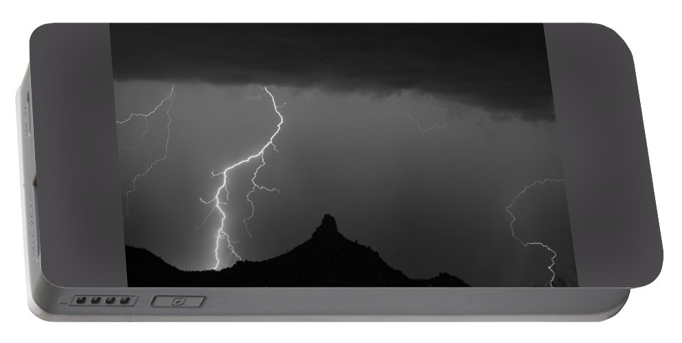 Pinnacle Peak Lightning Portable Battery Charger featuring the photograph Lightning Storm At Pinnacle Peak Scottsdale Az Bw by James BO Insogna