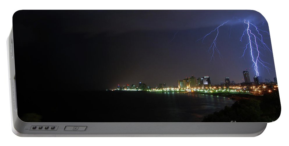 Storms Portable Battery Charger featuring the photograph Lightning Storm by Ben Kelmer