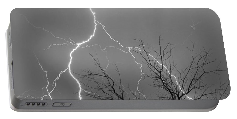 Lightning Portable Battery Charger featuring the photograph Lightning Storm On 17th Street Bw Fine Art Print by James BO Insogna
