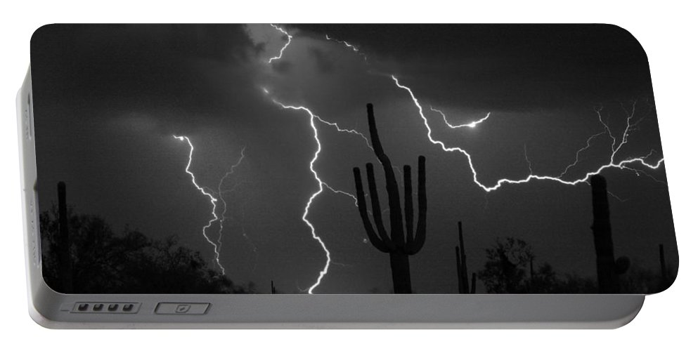 Saguaro Portable Battery Charger featuring the photograph Lightning Storm Saguaro Fine Art Bw Photography by James BO Insogna