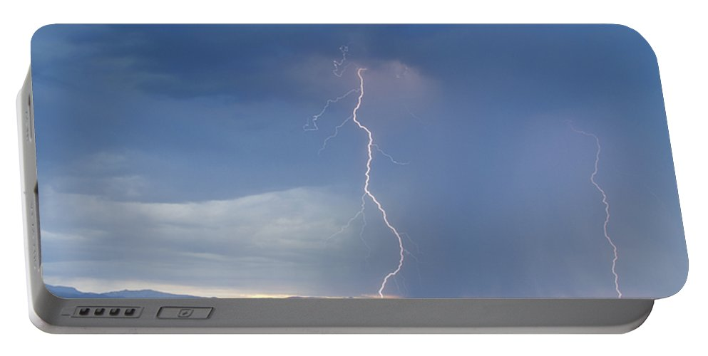 July Portable Battery Charger featuring the photograph Lightning Striking At Sunset Rocky Mountain Foothills by James BO Insogna
