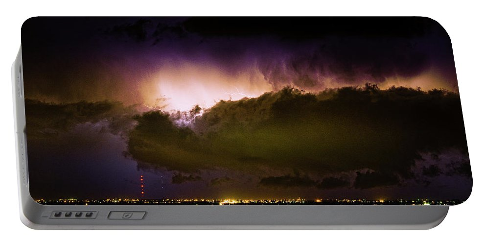 Bo Insogna Portable Battery Charger featuring the photograph Lightning Thunderstorm Cloud Burst by James BO Insogna