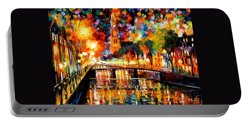 Afremov Portable Battery Charger featuring the painting Lights And Shadows Of Amsterdam by Leonid Afremov