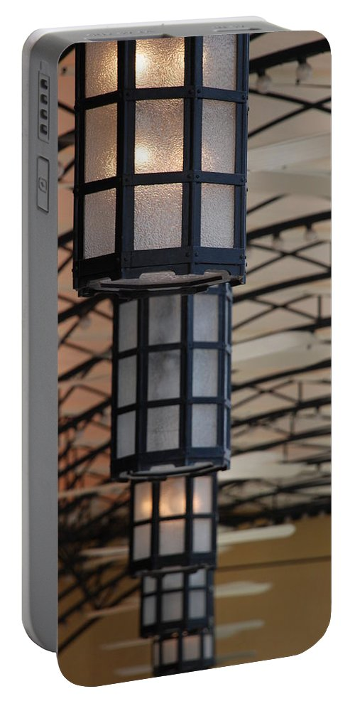 Architecture Portable Battery Charger featuring the photograph Lights At City Place by Rob Hans