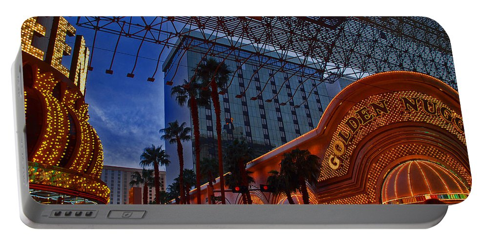 Photography Portable Battery Charger featuring the photograph Lights In Down Town Las Vegas by Susanne Van Hulst