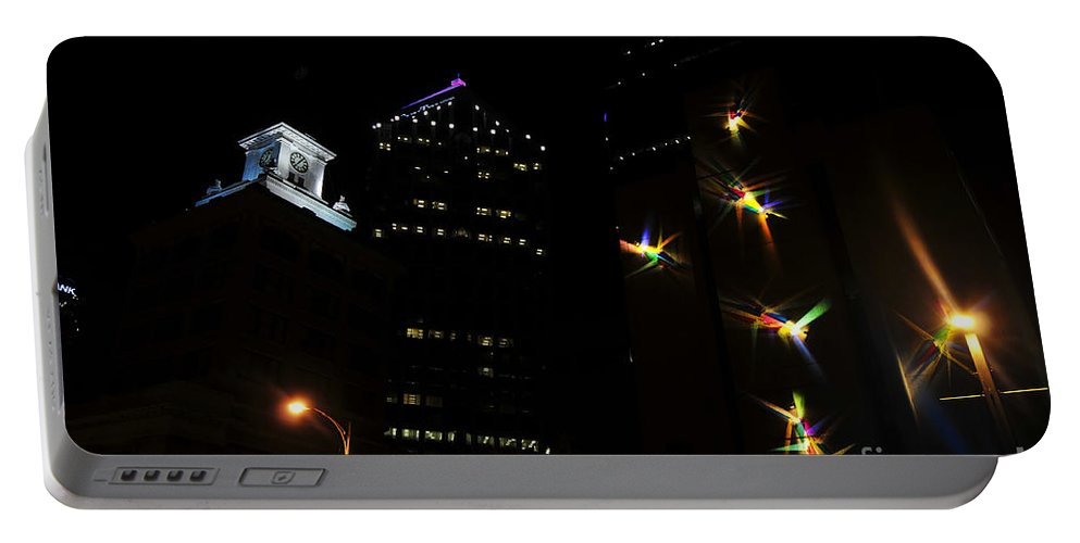 Night Lights Portable Battery Charger featuring the photograph Lights On Tampa by David Lee Thompson