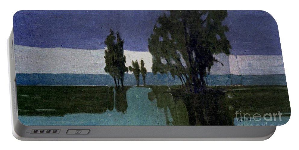 Nocturne Portable Battery Charger featuring the painting Lights On The Horizon by Donald Maier
