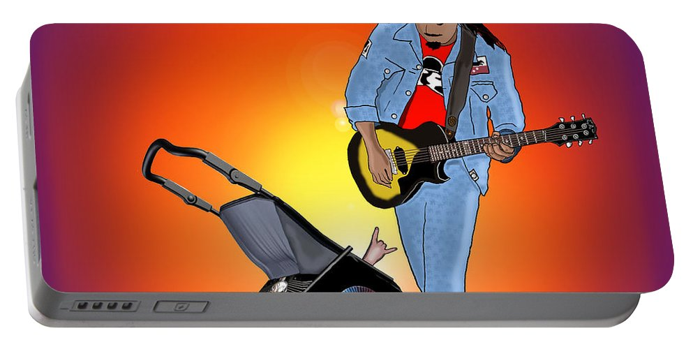 Rock Portable Battery Charger featuring the drawing Like Father Like Son by Kev Moore