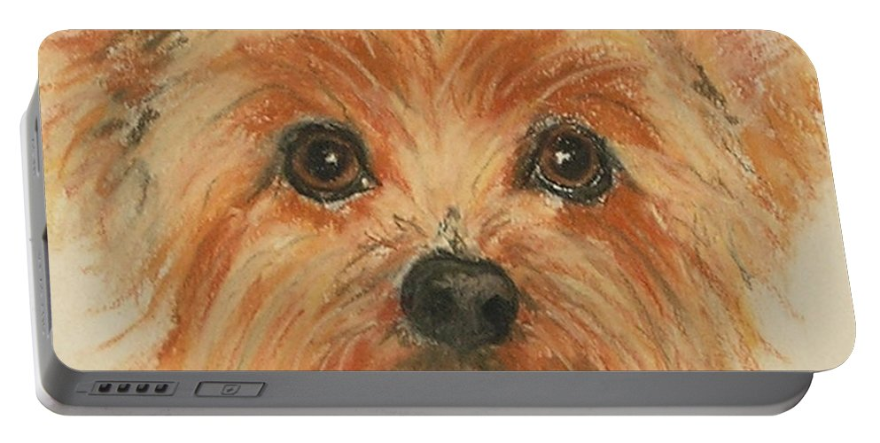 Pastel Portable Battery Charger featuring the drawing Lil Rascal by Cori Solomon