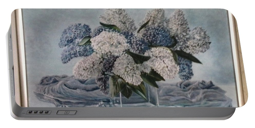 Lilac Portable Battery Charger featuring the painting Lilac by Artyom Ukhov