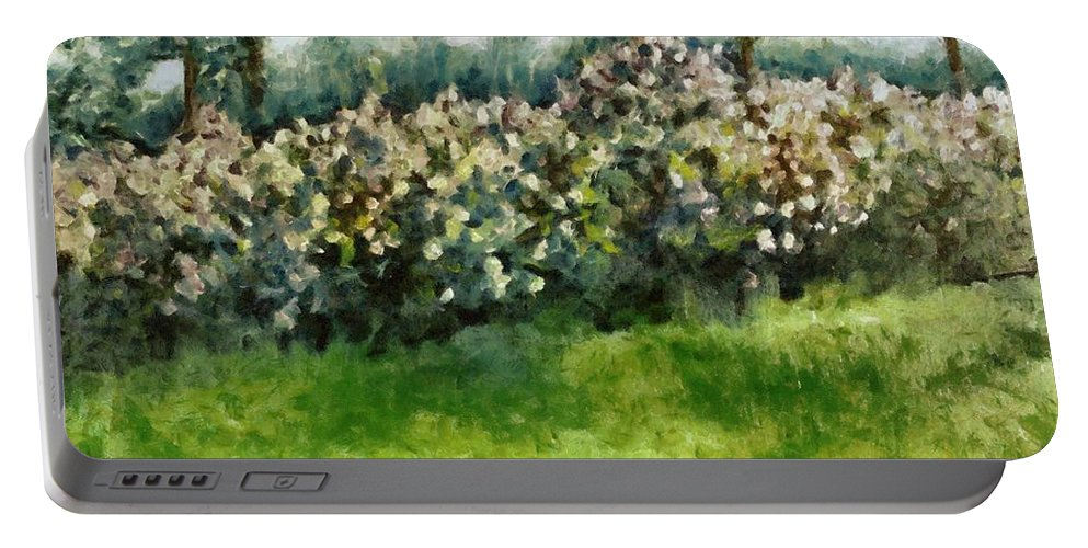 Spring Portable Battery Charger featuring the painting Lilac Bushes In Springtime by Michelle Calkins