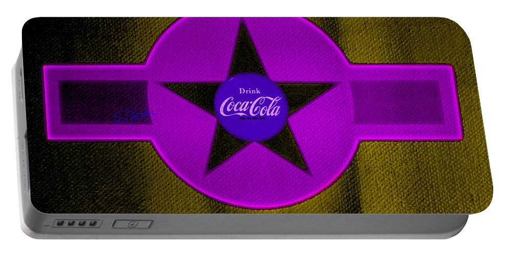 Label Portable Battery Charger featuring the painting Lilac On Orange by Charles Stuart