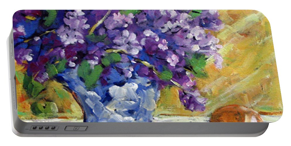 Art Portable Battery Charger featuring the painting Lilac by Richard T Pranke