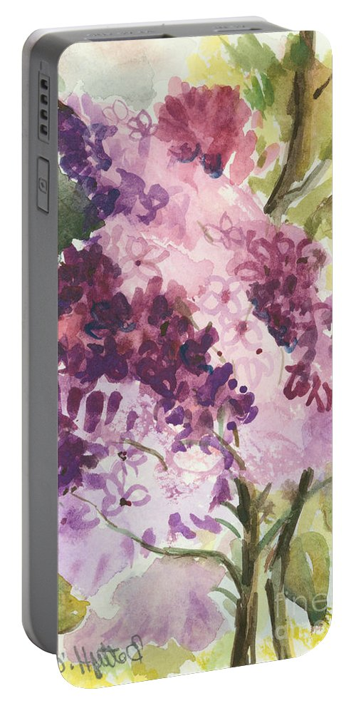 Original Portable Battery Charger featuring the painting Lilacs - Note Card by Elisabeta Hermann
