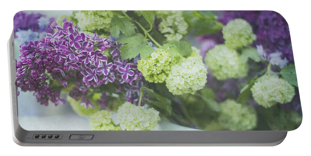 Lilacs Portable Battery Charger featuring the photograph Lilacs And Snowballs by Rebecca Cozart