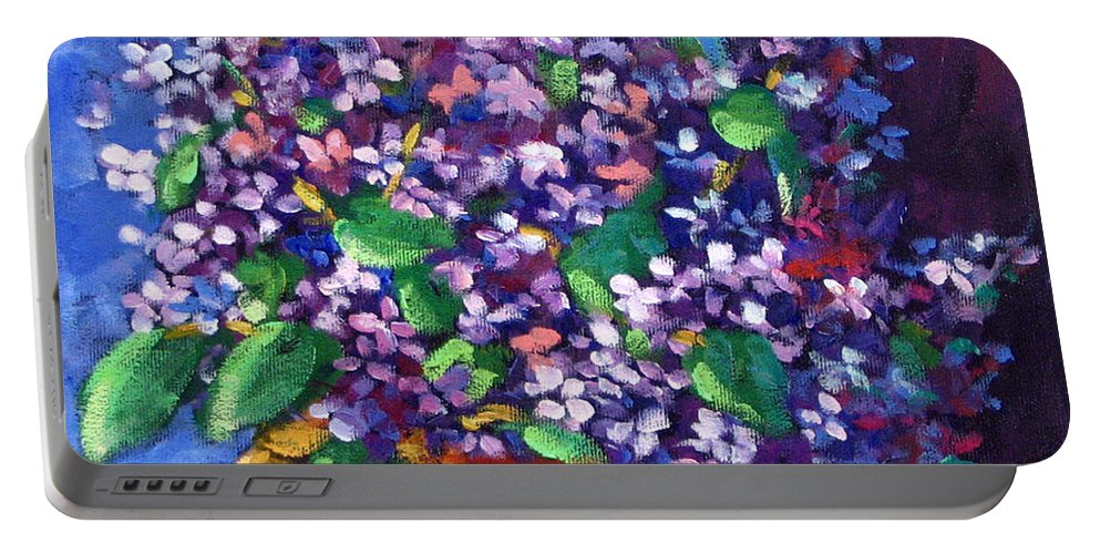 Art Portable Battery Charger featuring the painting Lilacs by Richard T Pranke