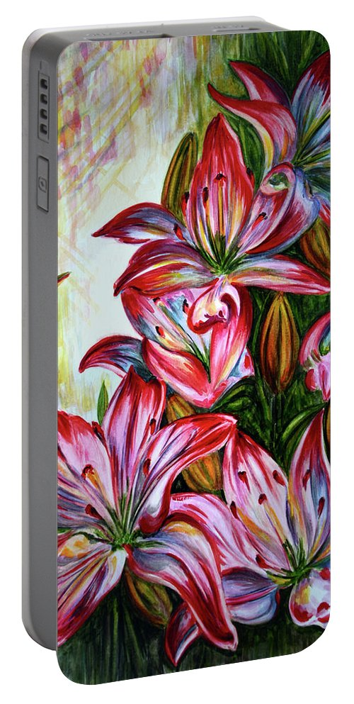 Lilies Portable Battery Charger featuring the painting Lilies by Harsh Malik