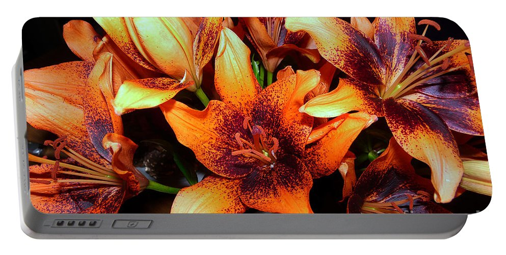Still Life Portable Battery Charger featuring the photograph Lilies In The Shadow by Jasna Dragun
