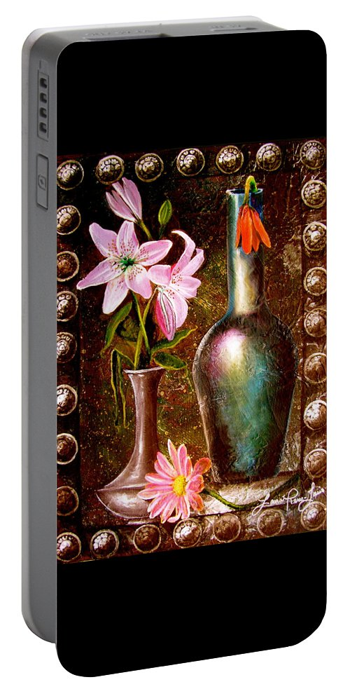 Painting Portable Battery Charger featuring the painting Lilies by Laura Pierre-Louis